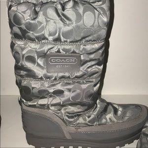 COACH Signature Waterproof Silver/Gray Rain Boots.